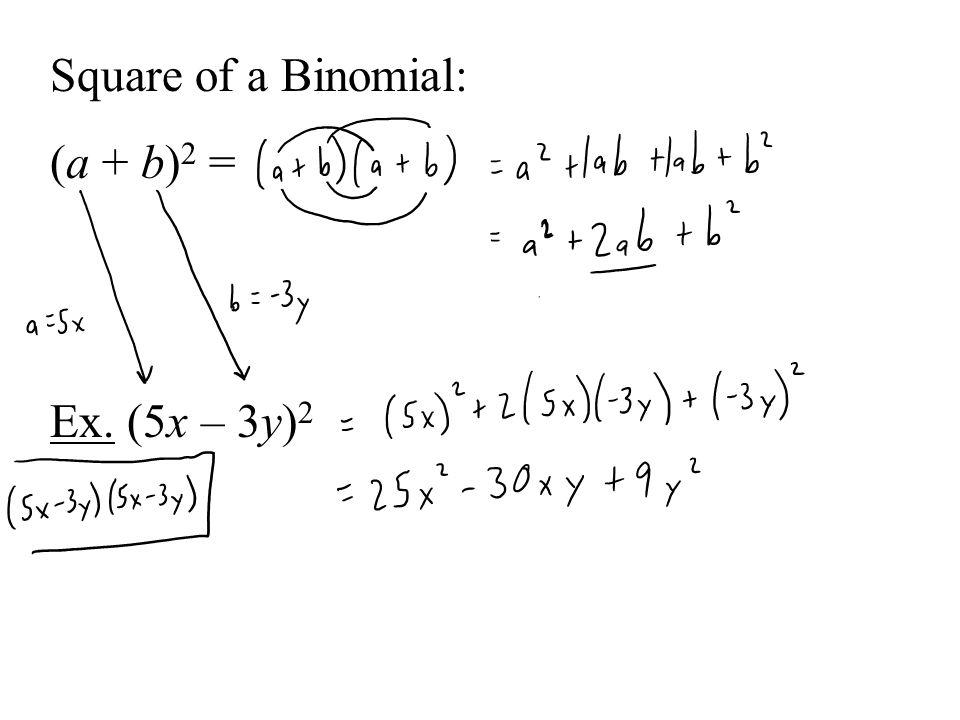 Square of a Binomial: (a + b) 2 = Ex. (5x – 3y) 2