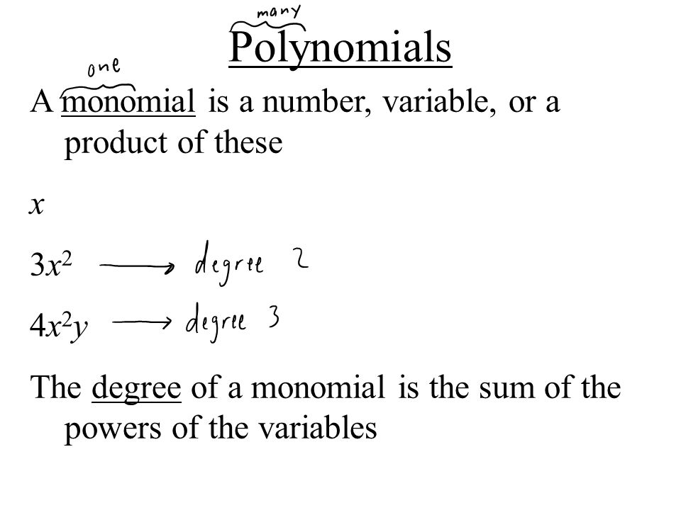 A monomial is a number, variable, or a product of these x 3x23x2 4x2y4x2y The degree of a monomial is the sum of the powers of the variables Polynomia