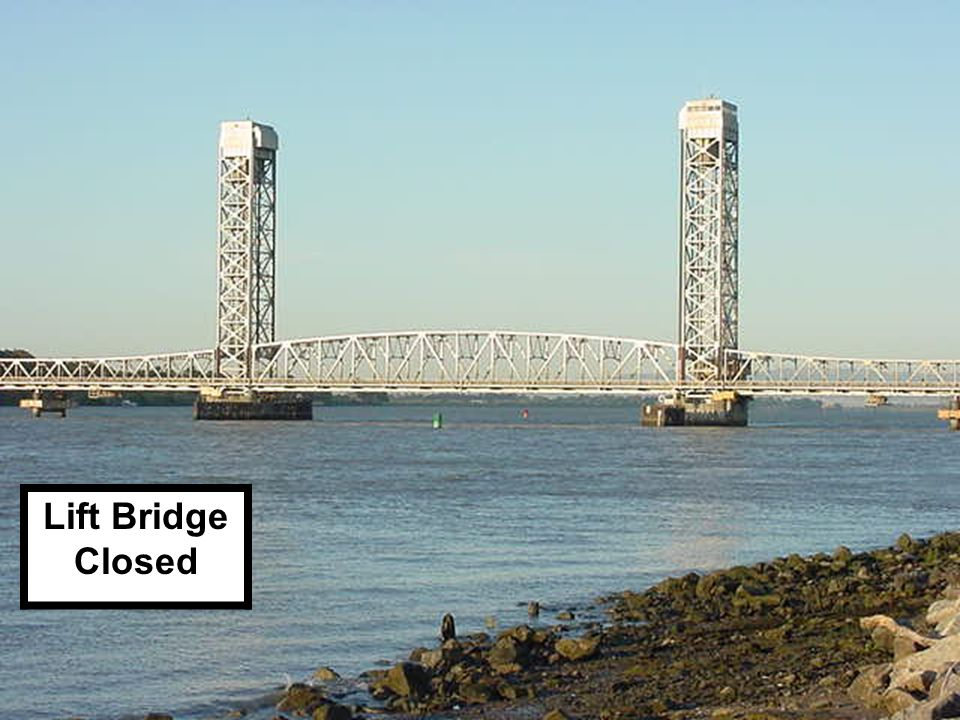 SWING BRIDGE – OPEN One navigable channel Swing Span-Red & Green Each 180° 180° Red Pier &Axis Lights