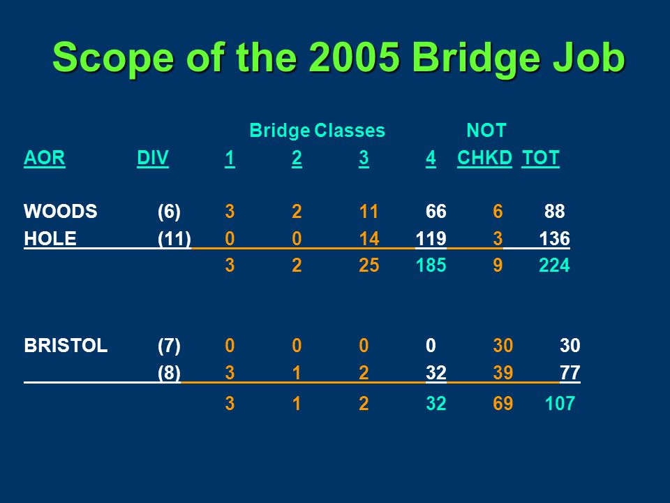 Scope of the 2005 Bridge Job Bridge Classes NOT AOR DIV1234 CHKD TOT Boston(3)0386724 (4)0348419 (5)3112723165 (9)00811221 (12)10109020 417574724149 P