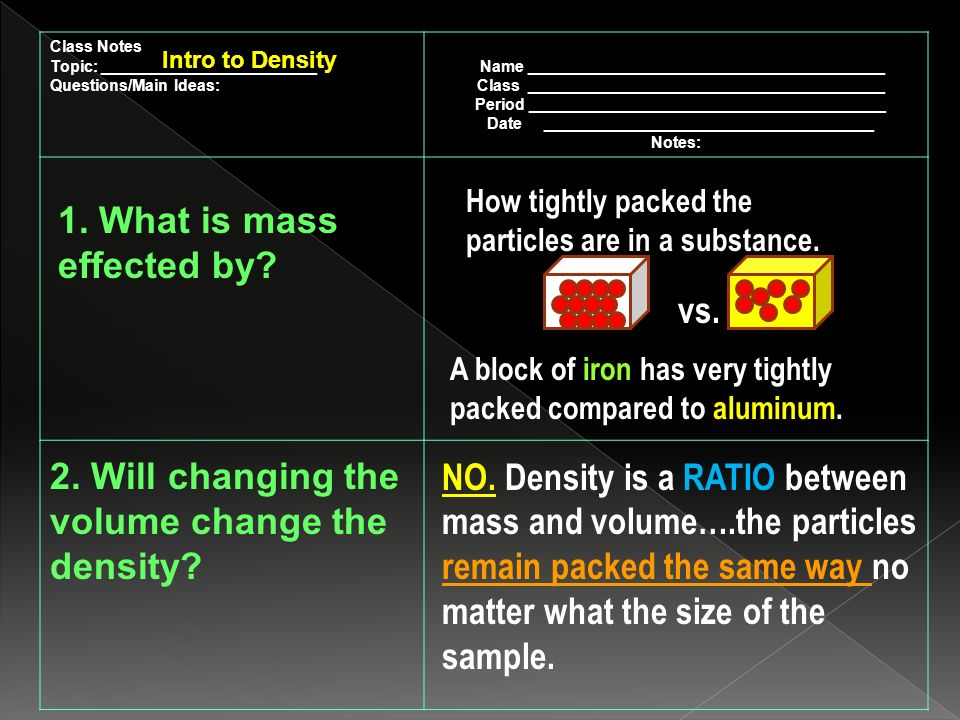 Class Notes Topic: ________________________ Questions/Main Ideas: Name ________________________________________ Class ________________________________________ Period ________________________________________ Date _____________________________________ Notes: Intro to Density 1.