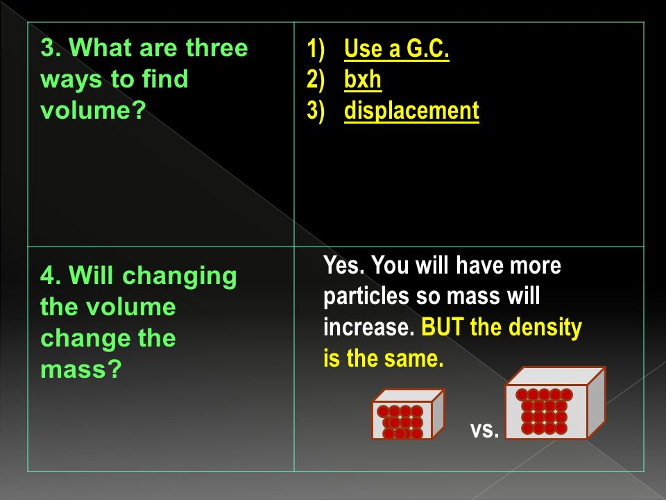 3. What are three ways to find volume. 1)Use a G.C.