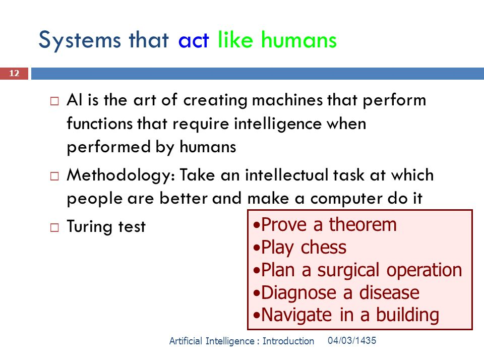 Systems that act like humans AI is the art of creating machines that perform functions that require intelligence when performed by humans Methodology: