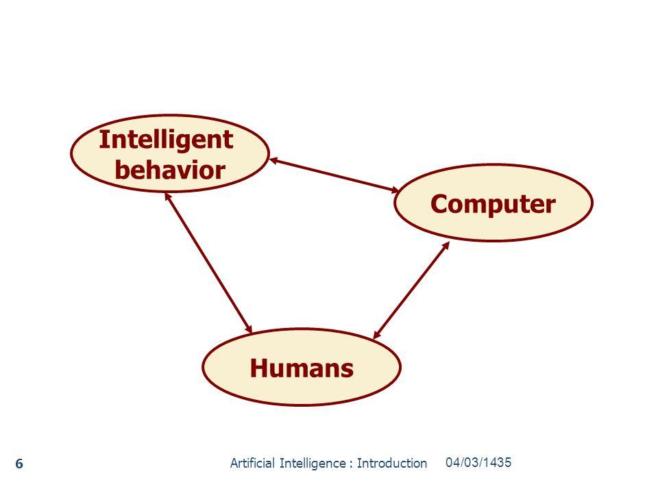 Intelligent behavior Humans Computer 04/03/1435Artificial Intelligence : Introduction 6