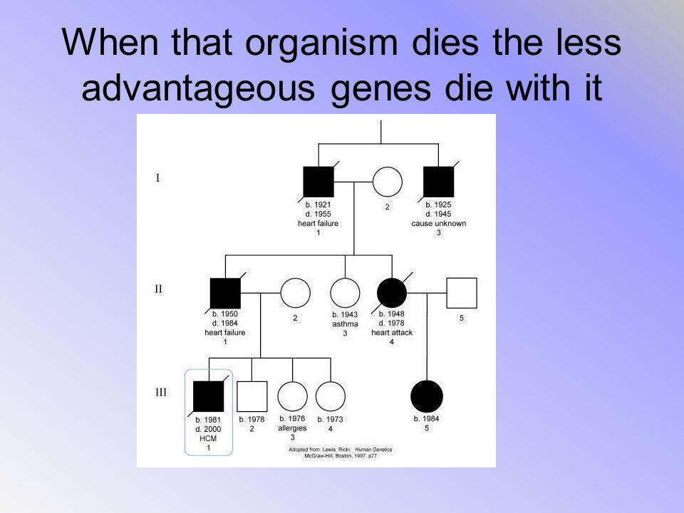 When that organism dies the less advantageous genes die with it