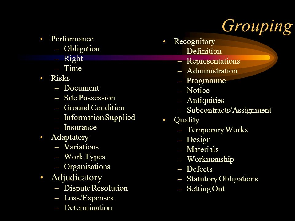 Grouping Performance –Obligation –Right –Time Risks –Document –Site Possession –Ground Condition –Information Supplied –Insurance Adaptatory –Variatio