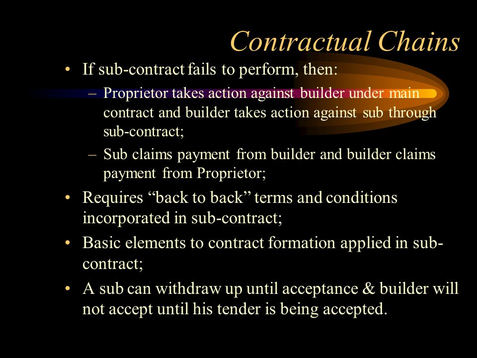 Contractual Chains If sub-contract fails to perform, then: –Proprietor takes action against builder under main contract and builder takes action again