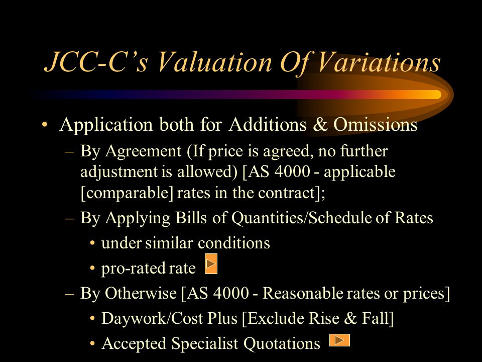 JCC-Cs Valuation Of Variations Application both for Additions & Omissions –By Agreement (If price is agreed, no further adjustment is allowed) [AS 400