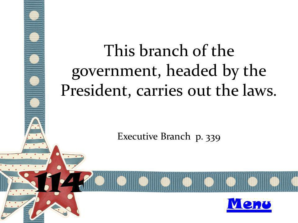 This branch of the government, headed by the President, carries out the laws.