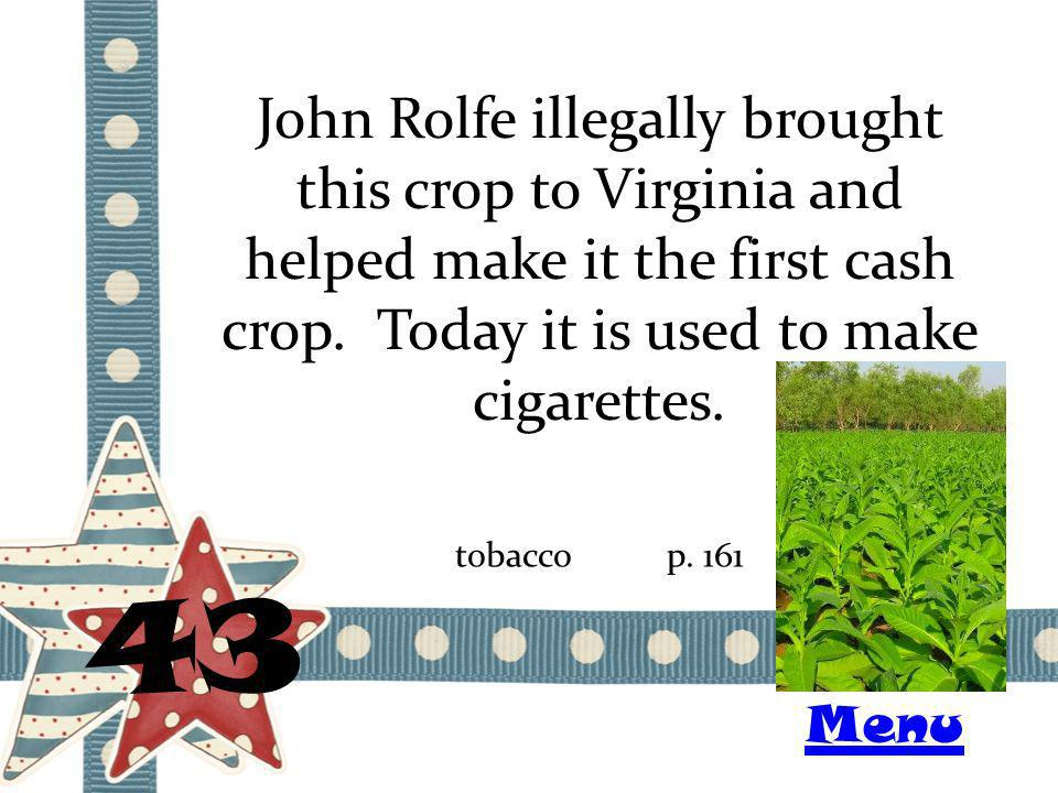 John Rolfe illegally brought this crop to Virginia and helped make it the first cash crop. Today it is used to make cigarettes. 43 tobaccop. 161 Menu