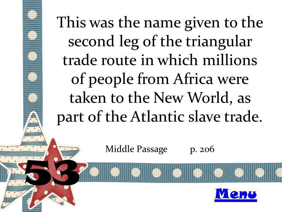 This was the name given to the second leg of the triangular trade route in which millions of people from Africa were taken to the New World, as part of the Atlantic slave trade.