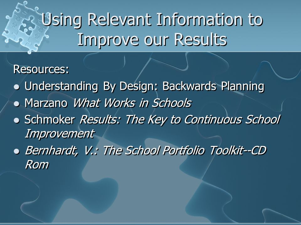 Using Relevant Information to Improve our Results Resources: Understanding By Design: Backwards Planning Marzano What Works in Schools Schmoker Result