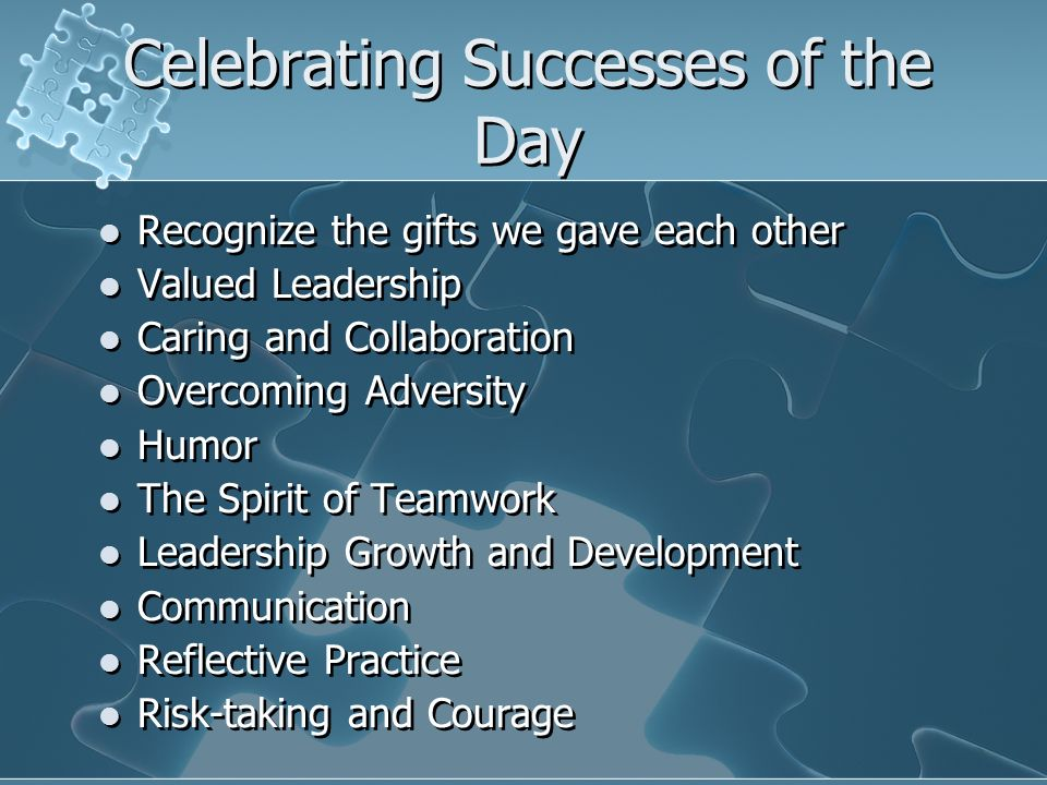 Celebrating Successes of the Day Recognize the gifts we gave each other Valued Leadership Caring and Collaboration Overcoming Adversity Humor The Spir