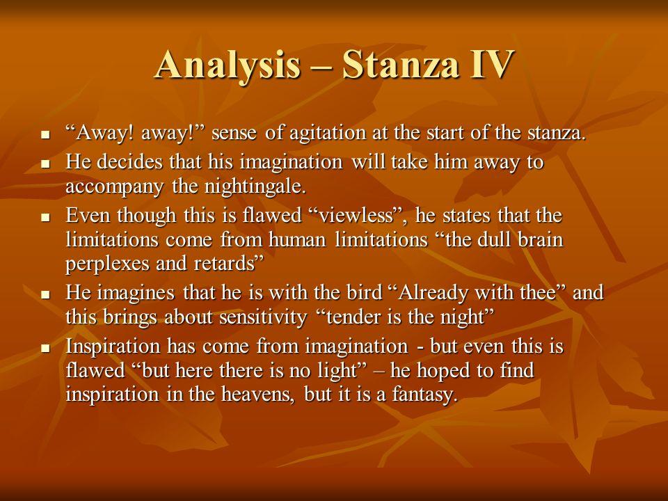 Analysis – Stanza IV Away! away! sense of agitation at the start of the stanza. Away! away! sense of agitation at the start of the stanza. He decides