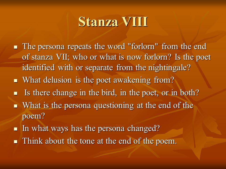 Stanza VIII The persona repeats the word