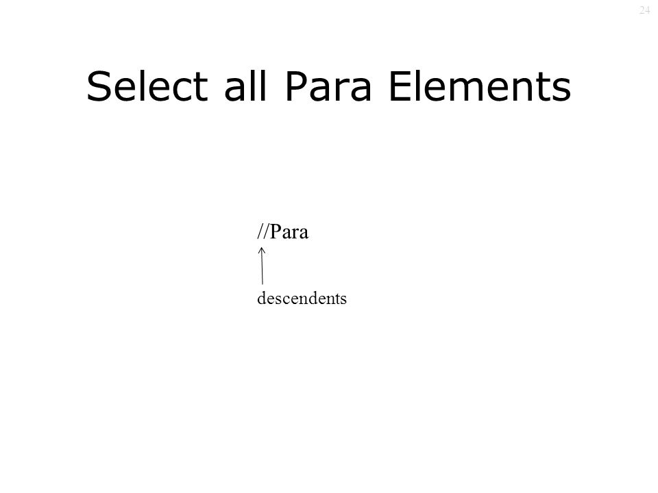 24 Select all Para Elements //Para descendents