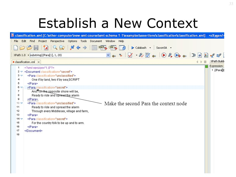33 Establish a New Context Node Make the second Para the context node