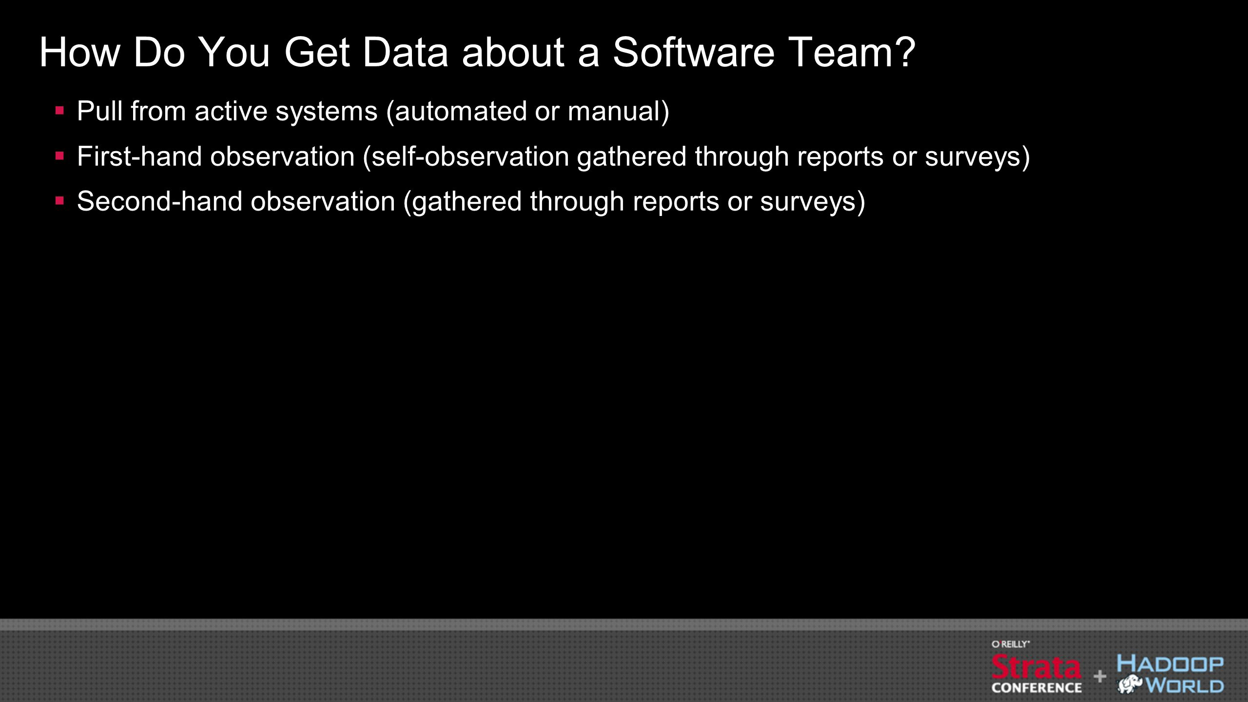 How Do You Get Data about a Software Team.