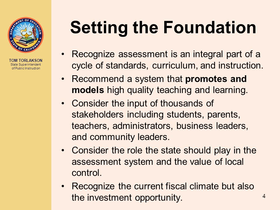 TOM TORLAKSON State Superintendent of Public Instruction SSPI Recommendation 1 Beginning in the 2013-14 school year, suspend portions of the STAR Program assessments and adjust the API to reflect suspension of such assessments.