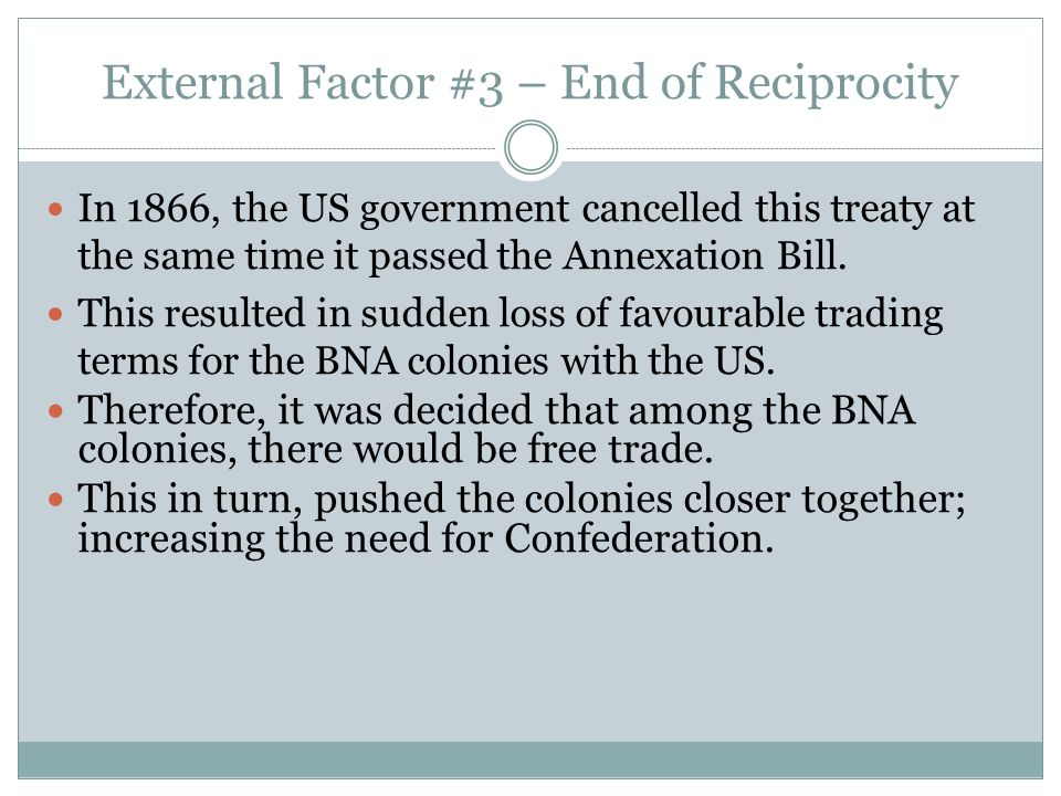External Factor #3 – End of Reciprocity In 1866, the US government cancelled this treaty at the same time it passed the Annexation Bill. This resulted