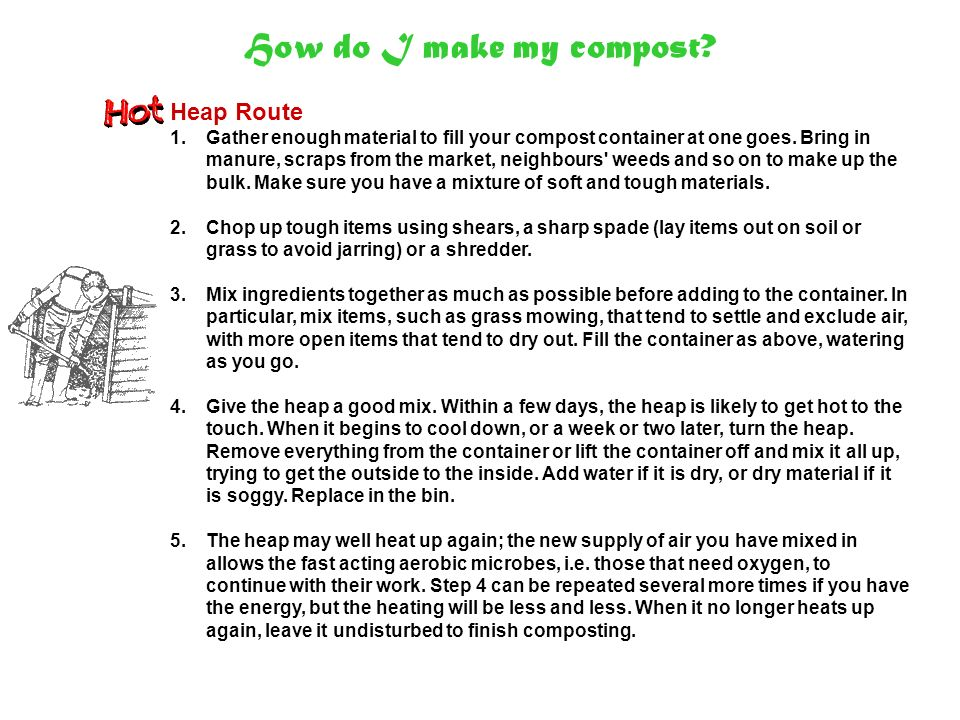 When is it ready.Compost can be made in six to eight weeks, or it can take a year or more.