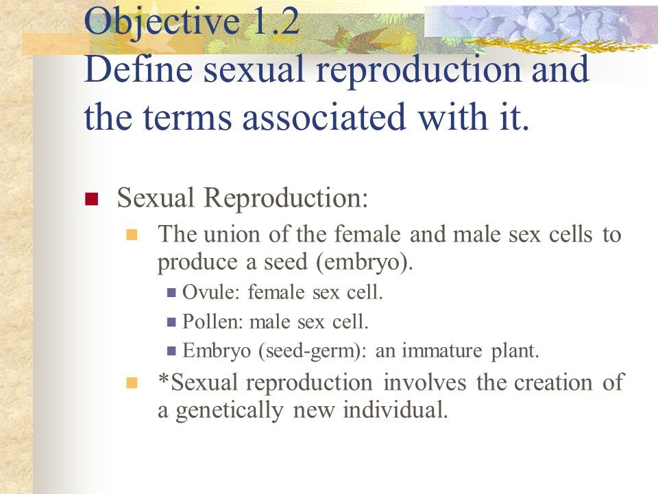 Objective 1.2 Define sexual reproduction and the terms associated with it. Sexual Reproduction: The union of the female and male sex cells to produce