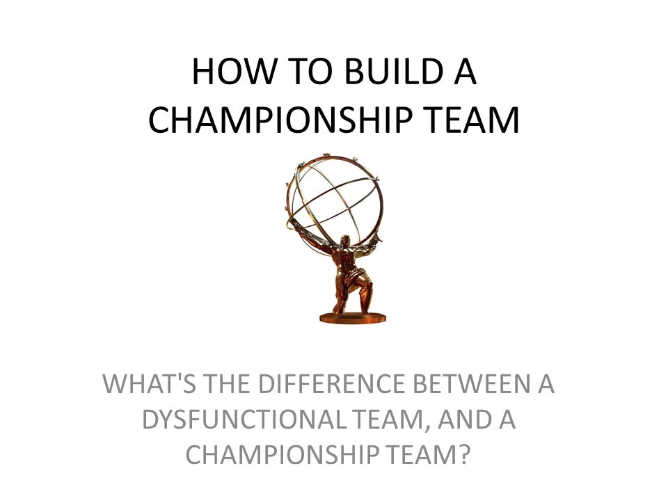 HOW TO BUILD A CHAMPIONSHIP TEAM WHAT'S THE DIFFERENCE BETWEEN A DYSFUNCTIONAL TEAM, AND A CHAMPIONSHIP TEAM?