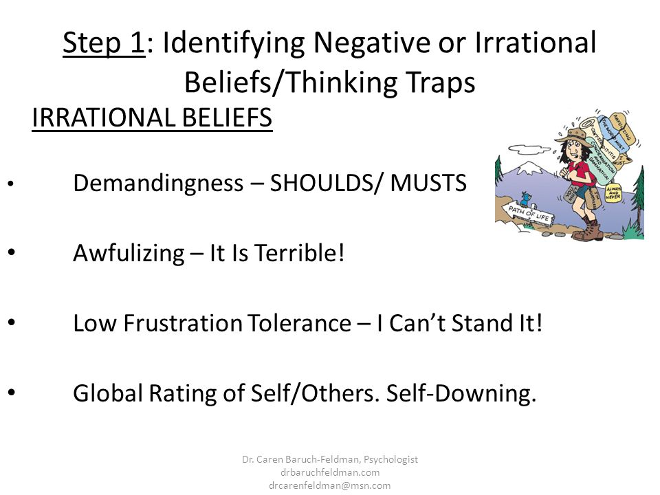Step 1: Identifying Negative or Irrational Beliefs/Thinking Traps IRRATIONAL BELIEFS Demandingness – SHOULDS/ MUSTS Awfulizing – It Is Terrible! Low F