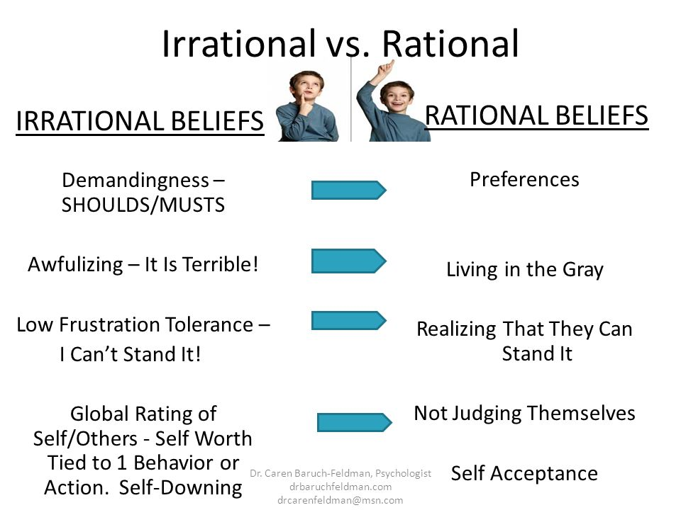 Irrational vs. Rational IRRATIONAL BELIEFS Demandingness – SHOULDS/MUSTS Awfulizing – It Is Terrible! Low Frustration Tolerance – I Cant Stand It! Glo
