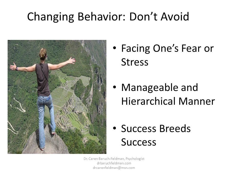 Changing Behavior: Dont Avoid Facing Ones Fear or Stress Manageable and Hierarchical Manner Success Breeds Success Dr. Caren Baruch-Feldman, Psycholog