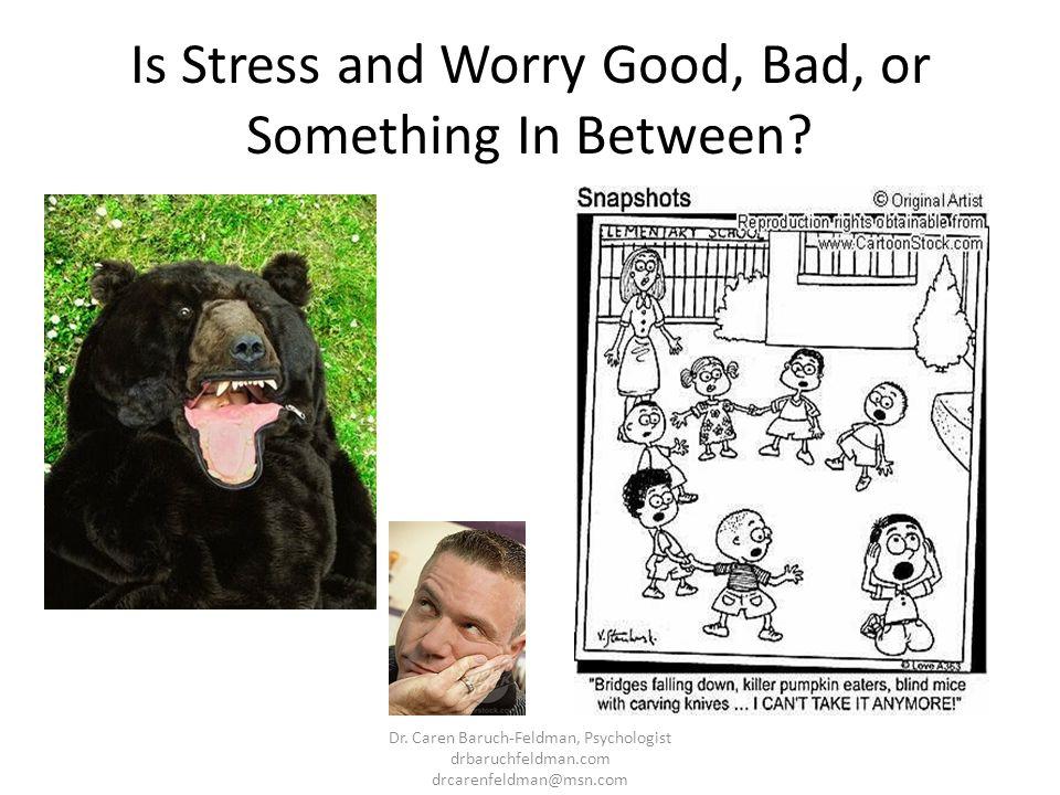 Is Stress and Worry Good, Bad, or Something In Between? Dr. Caren Baruch-Feldman, Psychologist drbaruchfeldman.com drcarenfeldman@msn.com