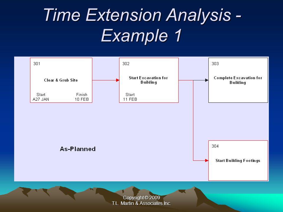 Copyright © 2009 T.L. Martin & Associates Inc. Time Extension Analysis - Example 1