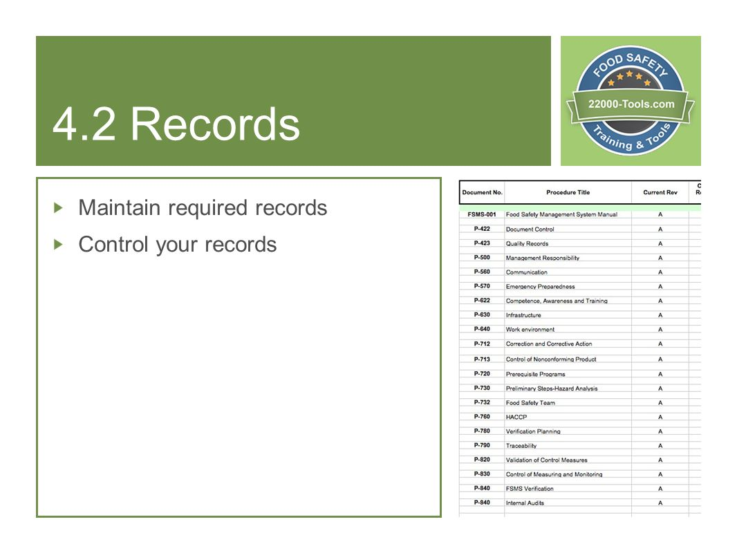 4.2 Records Maintain required records Control your records