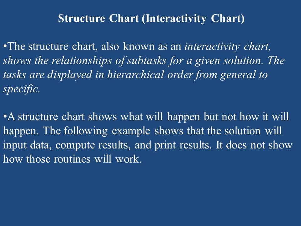 Structure Chart (Interactivity Chart) The structure chart, also known as an interactivity chart, shows the relationships of subtasks for a given solut
