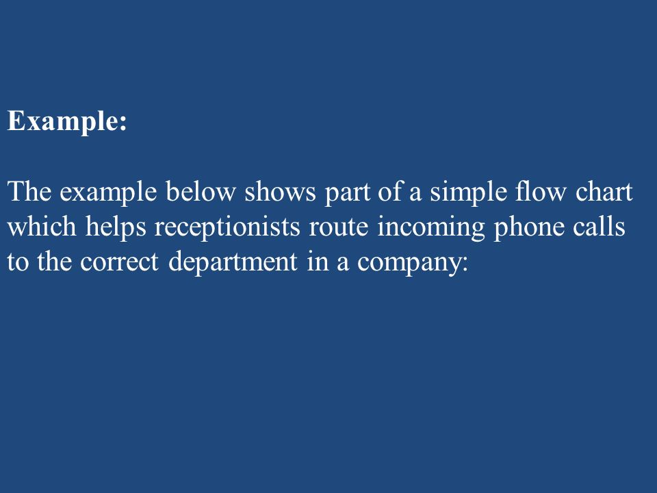 Example: The example below shows part of a simple flow chart which helps receptionists route incoming phone calls to the correct department in a compa