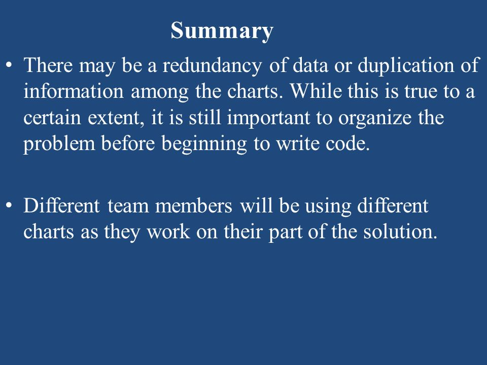 Summary There may be a redundancy of data or duplication of information among the charts. While this is true to a certain extent, it is still importan