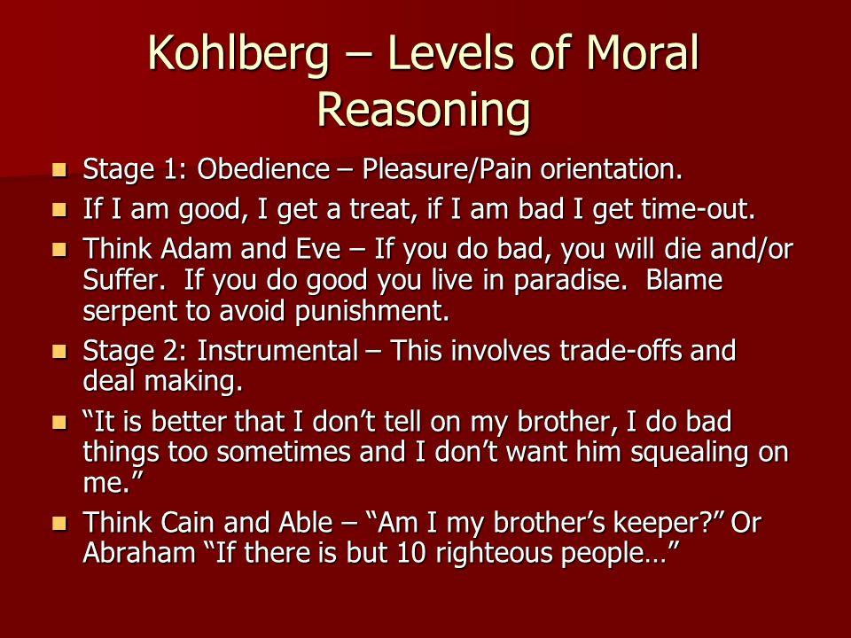 Kohlberg – Levels of Moral Reasoning Stage 1: Obedience – Pleasure/Pain orientation. Stage 1: Obedience – Pleasure/Pain orientation. If I am good, I g