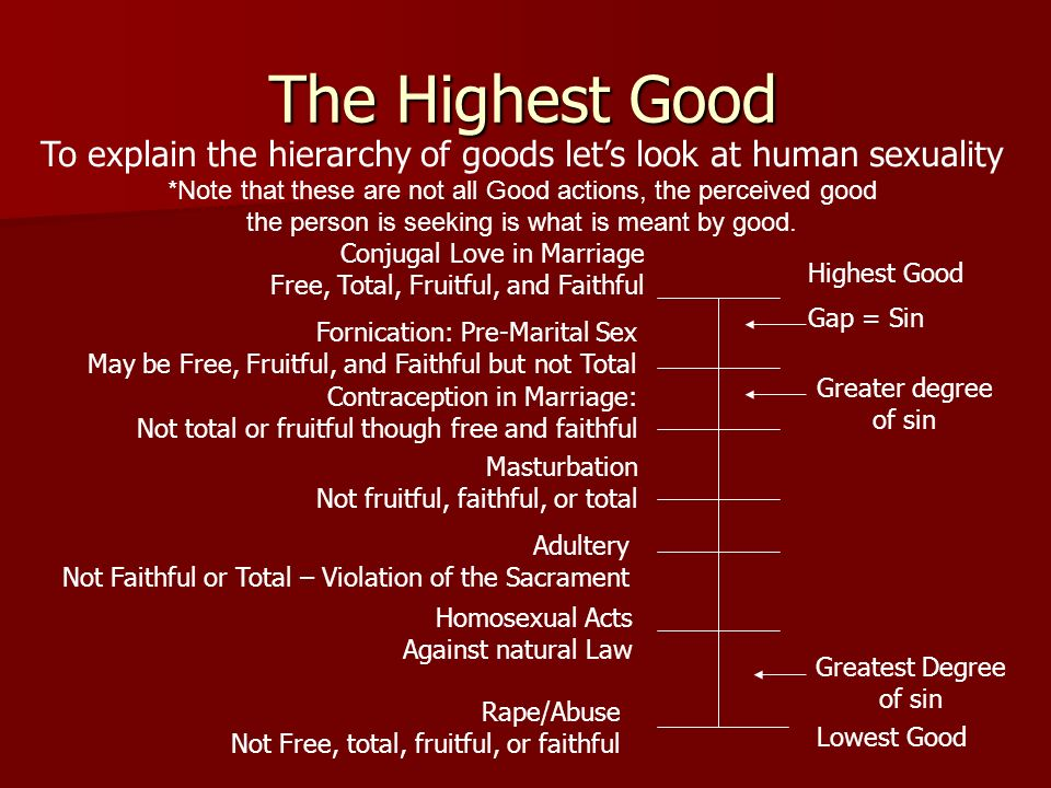 The Highest Good To explain the hierarchy of goods lets look at human sexuality *Note that these are not all Good actions, the perceived good the pers