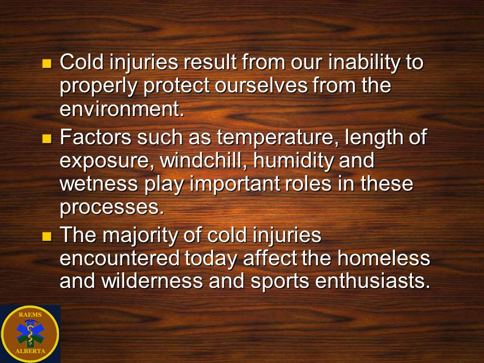 Clinical Presentation The body s physiologic responses to cooling and clinical presentation vary widely between individuals.