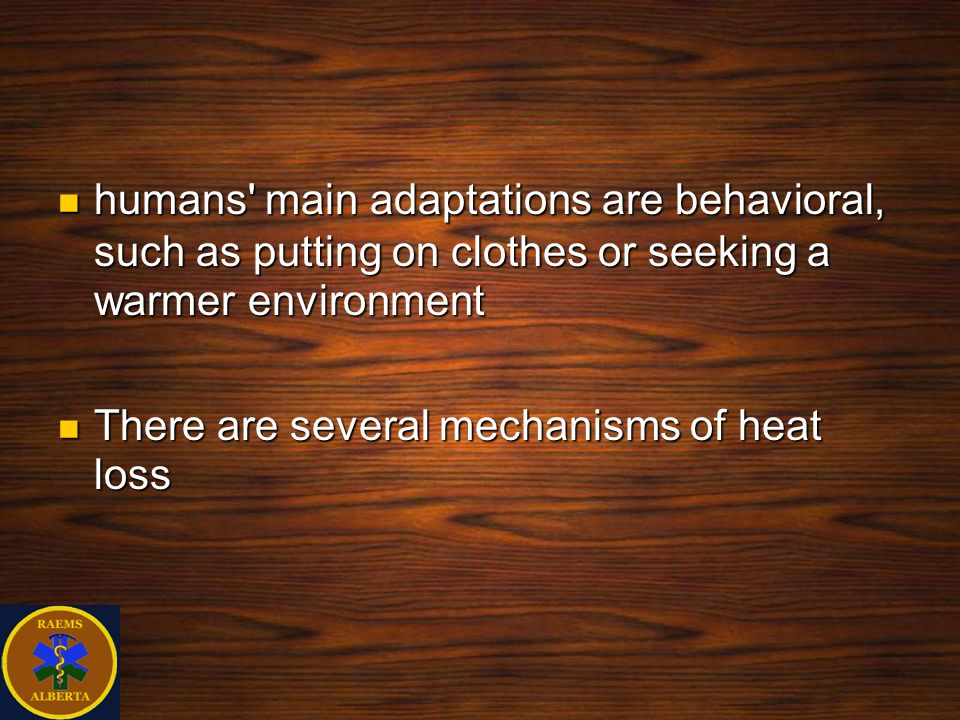 humans' main adaptations are behavioral, such as putting on clothes or seeking a warmer environment humans' main adaptations are behavioral, such as p