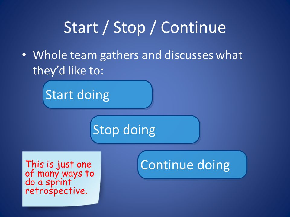 Start / Stop / Continue Whole team gathers and discusses what theyd like to: Start doing Stop doing Continue doing This is just one of many ways to do