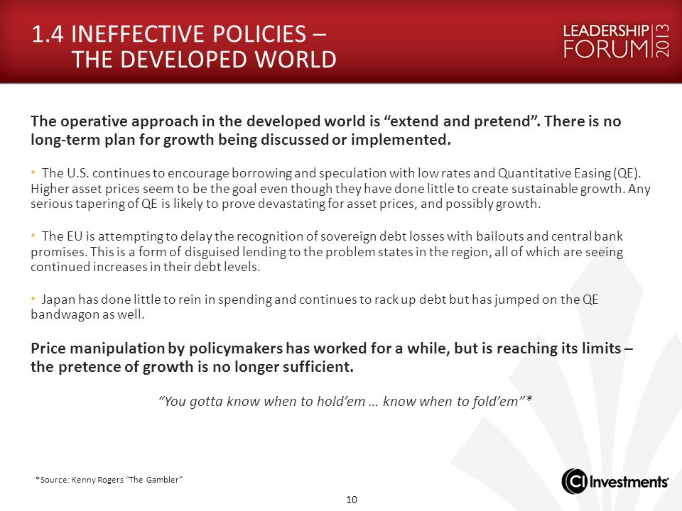 1.4 INEFFECTIVE POLICIES – THE DEVELOPED WORLD The operative approach in the developed world is extend and pretend. There is no long-term plan for gro