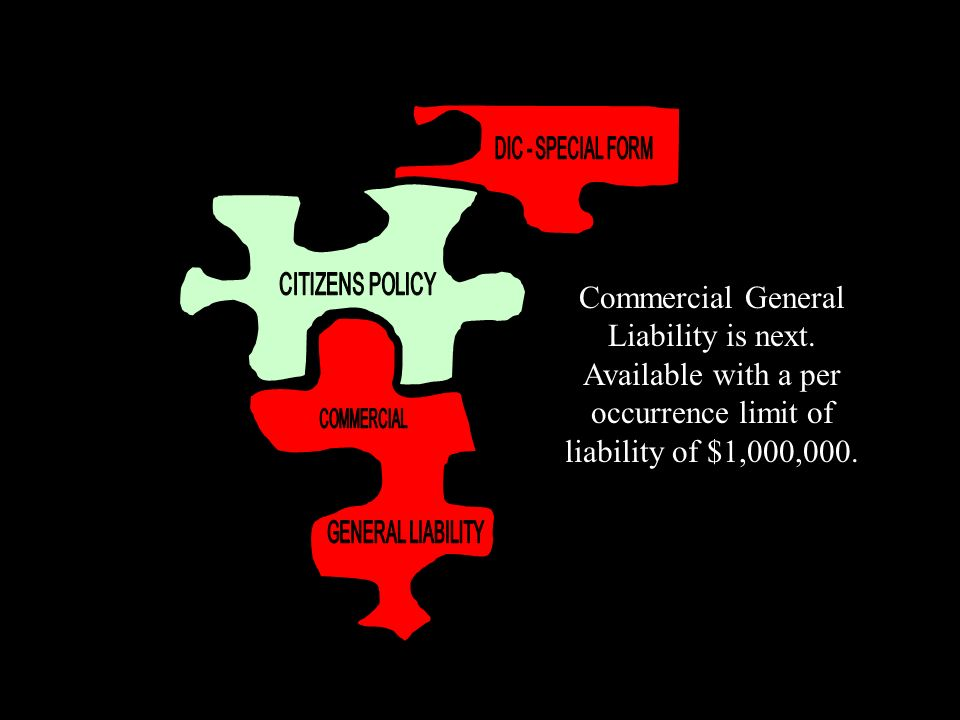 Commercial General Liability is next. Available with a per occurrence limit of liability of $1,000,000.