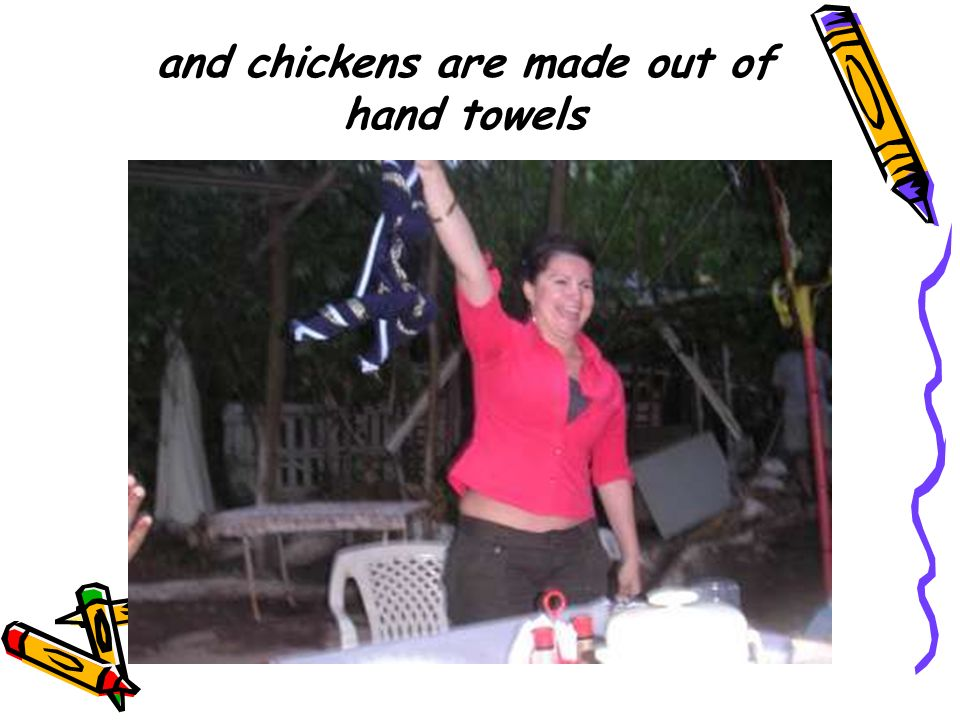 and chickens are made out of hand towels