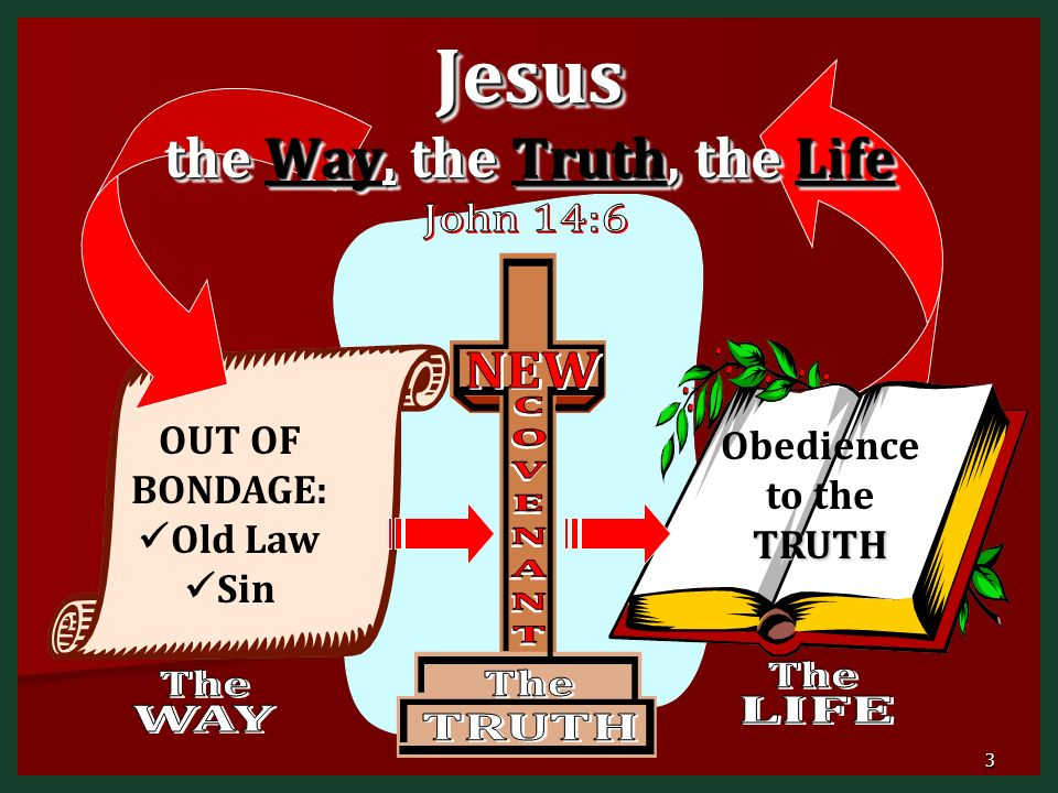 Jesus the Way, the Truth, the Life OUT OF BONDAGE: Old Law Sin TRUTH Obedience to the TRUTH 3