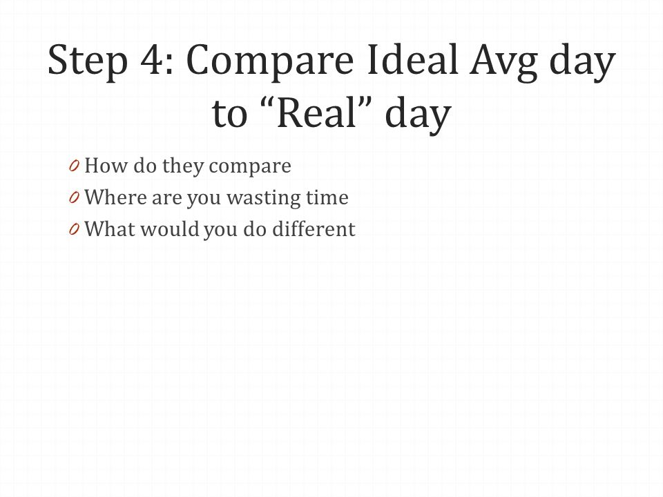 Step 4: Compare Ideal Avg day to Real day 0 How do they compare 0 Where are you wasting time 0 What would you do different