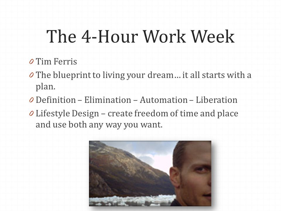 The 4-Hour Work Week 0 Tim Ferris 0 The blueprint to living your dream… it all starts with a plan. 0 Definition – Elimination – Automation – Liberatio