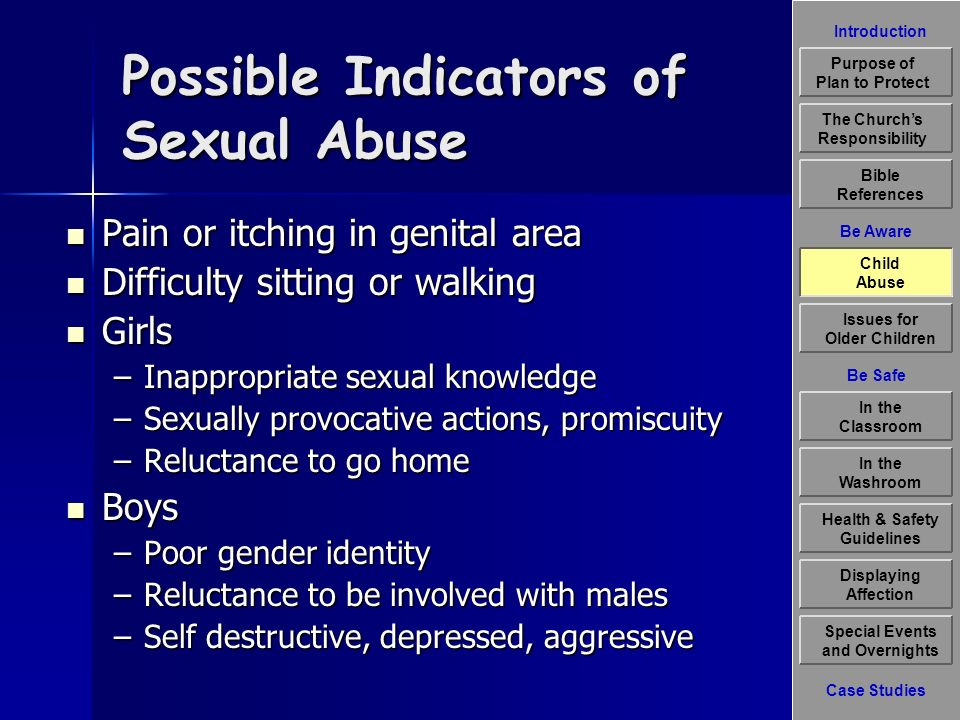 Introduction Be Aware The Churchs Responsibility Bible References Child Abuse Issues for Older Children Displaying Affection Special Events and Overnights Case Studies Be Safe In the Classroom Health & Safety Guidelines In the Washroom Purpose of Plan to Protect Possible Indicators of Sexual Abuse Pain or itching in genital area Pain or itching in genital area Difficulty sitting or walking Difficulty sitting or walking Girls Girls –Inappropriate sexual knowledge –Sexually provocative actions, promiscuity –Reluctance to go home Boys Boys –Poor gender identity –Reluctance to be involved with males –Self destructive, depressed, aggressive Child Abuse