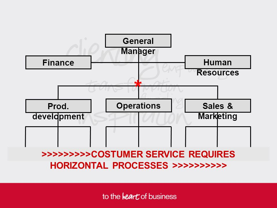 General Manager Finance Human Resources Prod. development Sales & Marketing Operations >>>>>>>>>COSTUMER SERVICE REQUIRES HORIZONTAL PROCESSES >>>>>>>