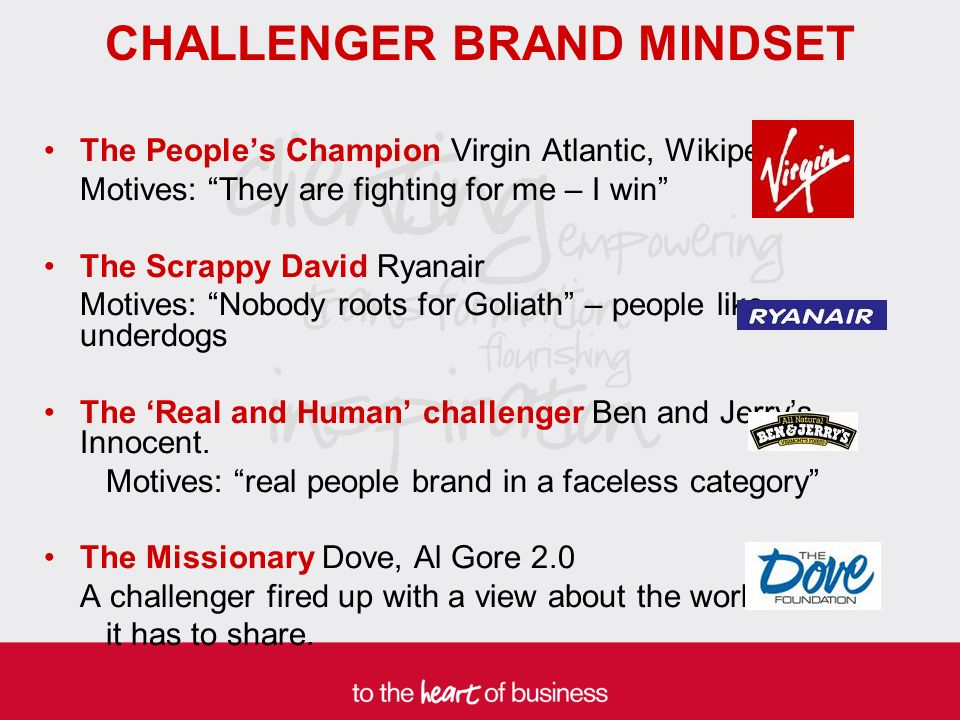 CHALLENGER BRAND MINDSET The Peoples Champion Virgin Atlantic, Wikipedia Motives: They are fighting for me – I win The Scrappy David Ryanair Motives: Nobody roots for Goliath – people like underdogs The Real and Human challenger Ben and Jerrys, Innocent.